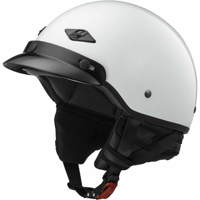 Gloss Pearl White - Large LS2 Helmets Bagger Motorcycle Half Helmet