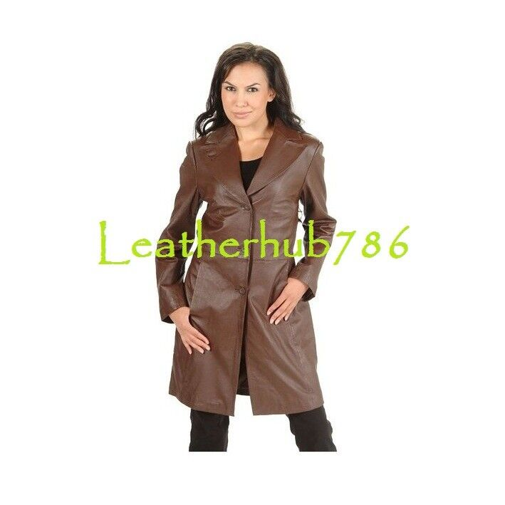 Brand New Women Trench Coat Above Knee Length Brown Real Lambskin Leather 159