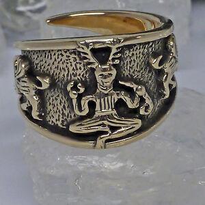 Groß 60-70 Cernunnos Kessel Von Gundestrup GläNzende OberfläChe Schmuck Angemessen Verstellbar Keltenring Bronze Gr