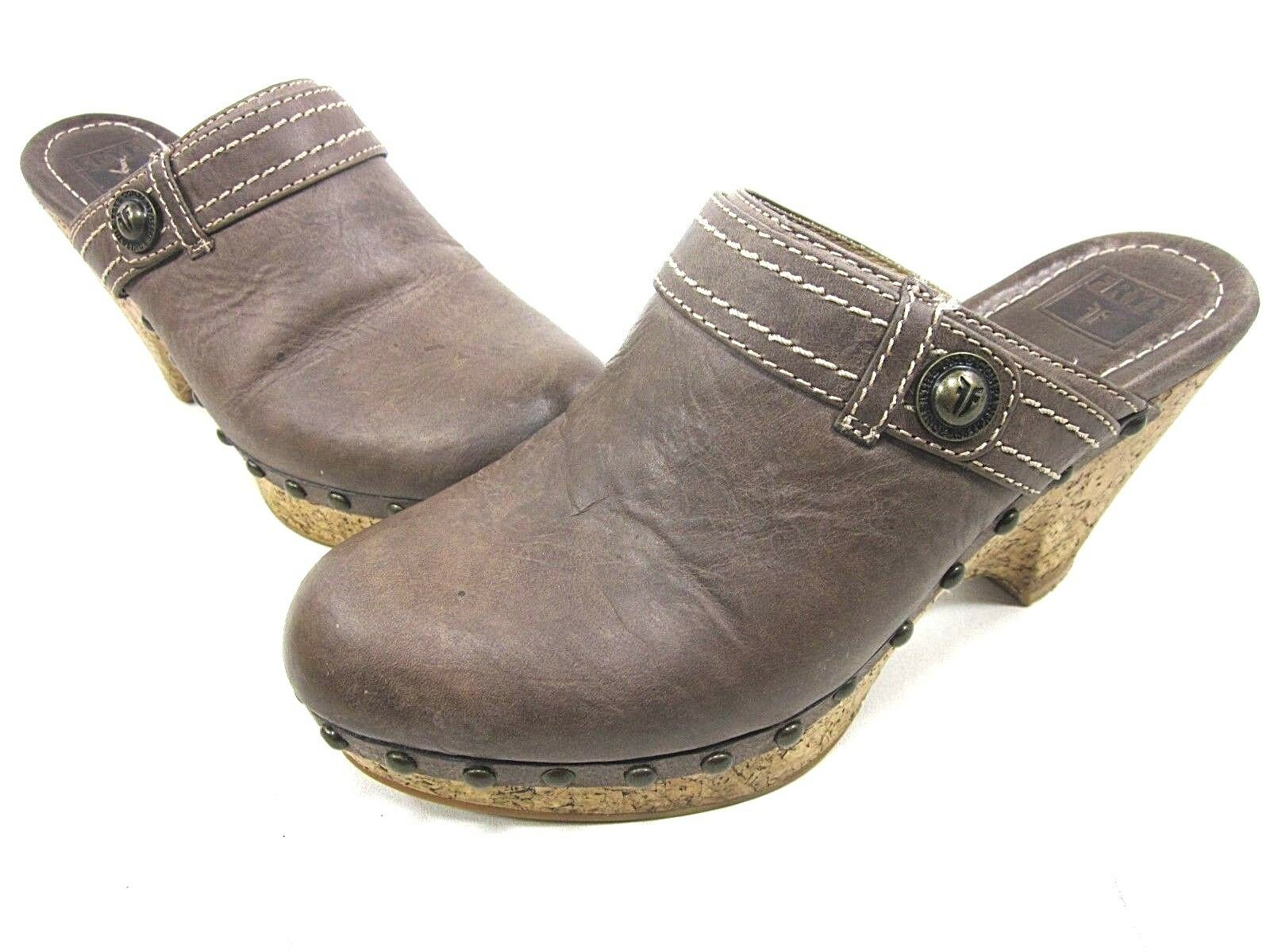FRYE, AUDRA BUTTON CLOG, femmes, DARK marron, US 7.5M, LEATHER, PRE-OWNED