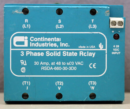 Continental Industries Inc RSDA-660-30-3D0 3 Phase Sold State Relay 4-28VDC