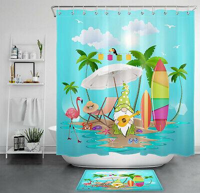 Tropical Palm Tree Flamingo Funny Gnome, Palm Tree Shower Curtains Bath Accessory Sets