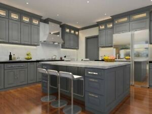 Details about Classic Grey Kitchen Cabinets-Sample door-RTA-All wood, in  stock, ready to ship