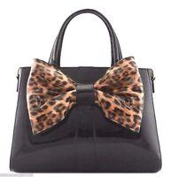 Animal Print Women Handbag Purse Large Bow Faux Patent Leather