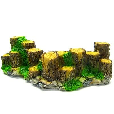 "Wood fence Aquarium Ornament Driftwood 6"" - Decoration fish tank Tree trunk rock"