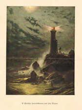 Lighthouse On The Cliff, by H. Eschke, Vintage 1894 German Antique Art Print