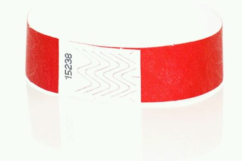 """RED ARM BANDS RED PAPER WRISTBANDS 200  3//4/"""" RED TYVEK WRISTBANDS"""