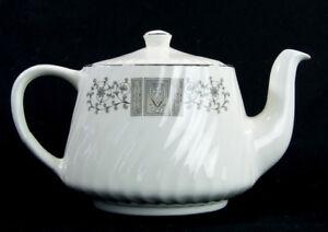 RARE-Vintage-Wedgwood-MANCHESTER-Teapot-Platinum-Trim-Swirl-Hearts-Scroll-Enoch