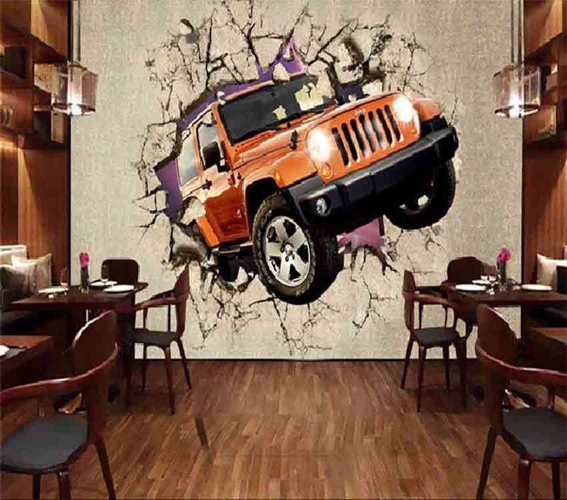 Break Wall Jeep 3D Full Wall Mural Photo Wallpaper Printing Home Kids Decoration