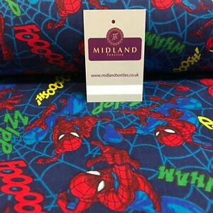 Blue Spider Man Coton Winceyette brossé doux flanelle tissu 110 cm MK1229-5