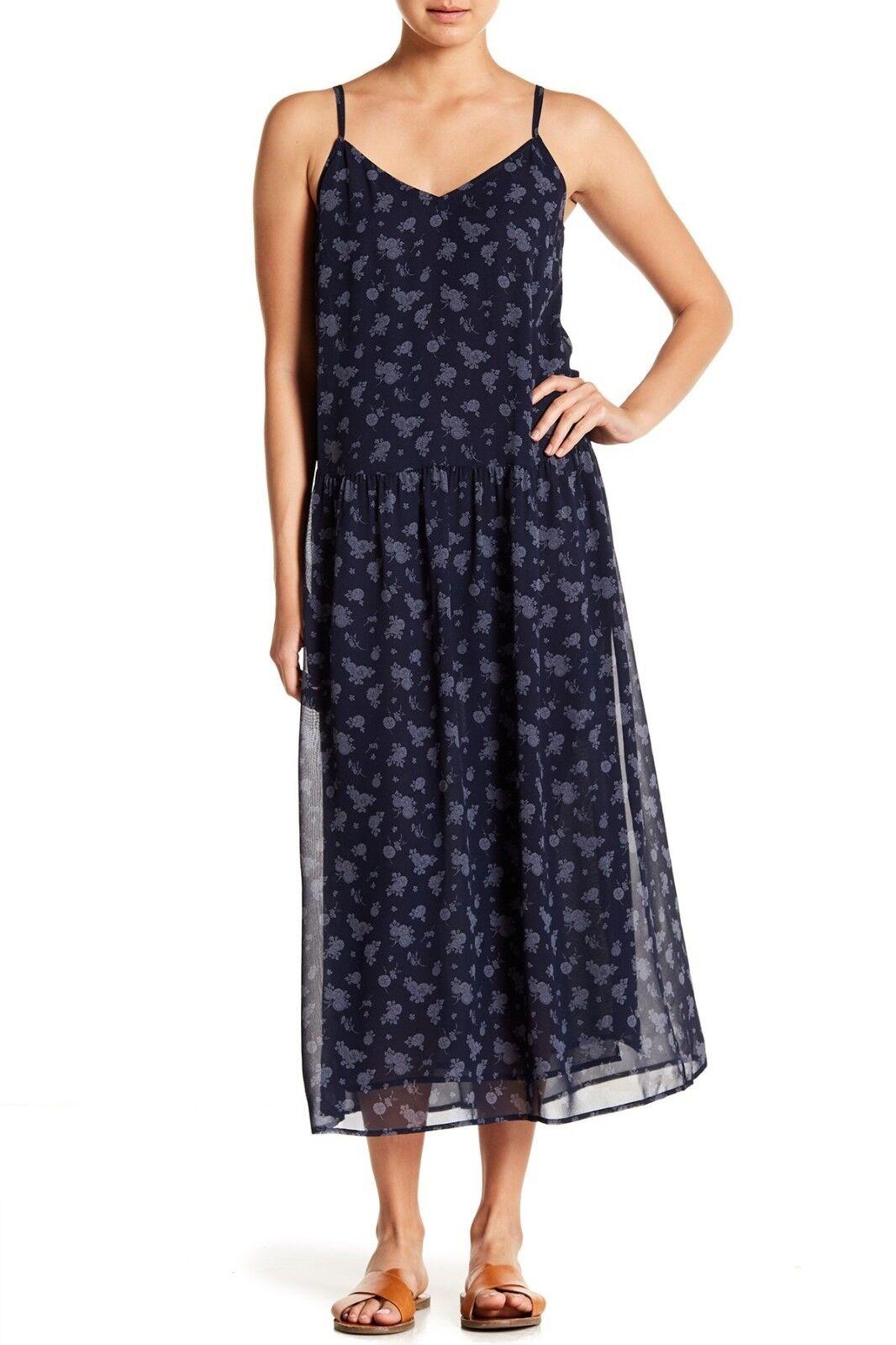 NWT Vince Calico Silk Floral Print Midi Dress Größe  S