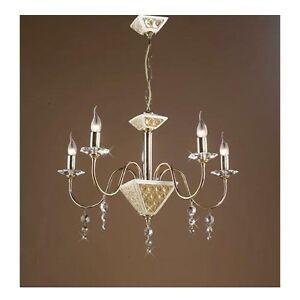 Lampadario 5 luci via veneto oro cristalli ceramica for Luci arredo casa