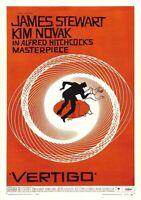 Vertigo James Stewart Movie Poster - Vintage Art Print Poster - A1 A2 A3 A4 A5
