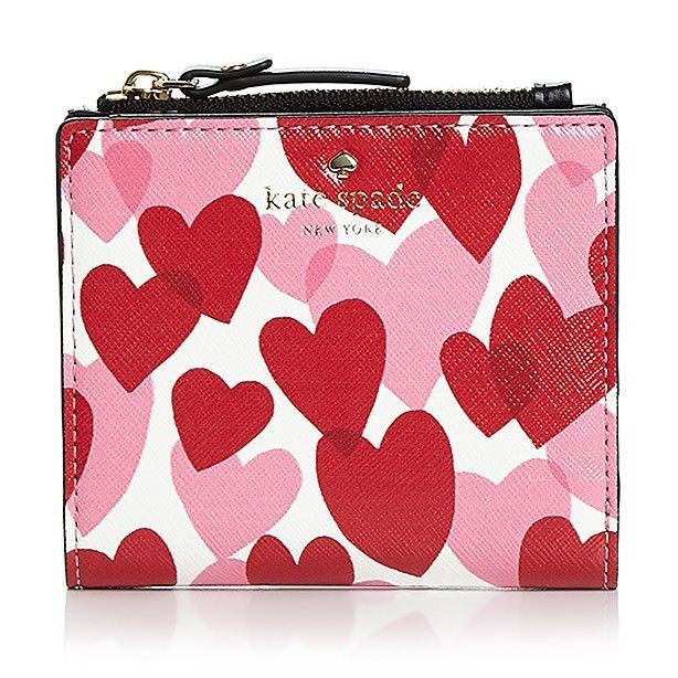 Kate Spade Compact Wallet Card Coin yours truly adalyn Heart Party ~NWT $88~