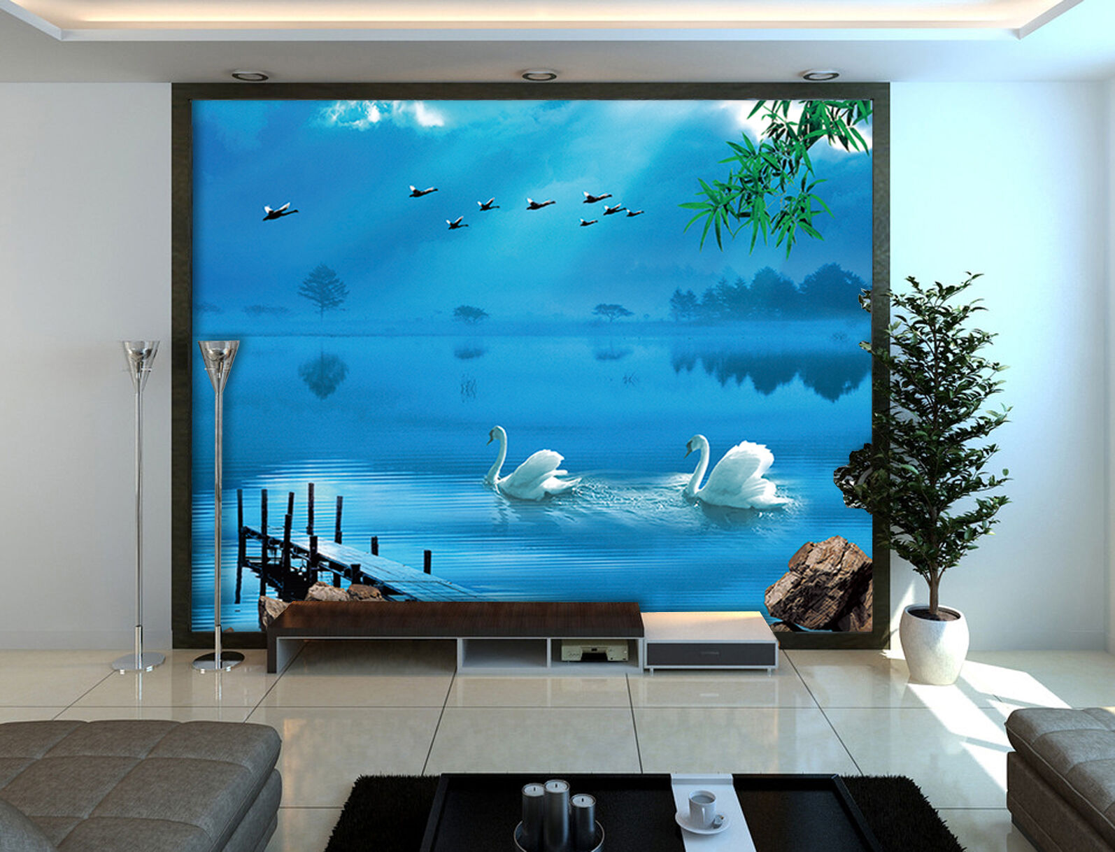 3D Blau lake, swan 6567 Wall Paper Print Wall Decal Deco Indoor Wall Murals