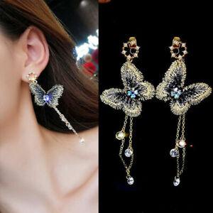 Fashion-Embroidery-Butterfly-Crystal-Long-Tassel-Dangle-Stud-Earrings-Jewelry