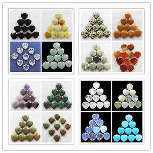 10pcs-Wholesale-Mixed-Gemstone-Heart-Pendant-Beads