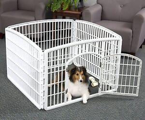 Dog Pet Pen Puppy Cat Kennel Cage Indoor/Outdoor Plastic 4-Panels ...