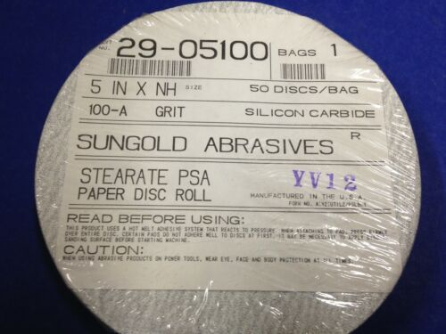 """SunGold 5/"""" x NH Silicon Carbide Stearate PSA Paper Disc ~ Pkg of 50 ~ 100-A Grit"""