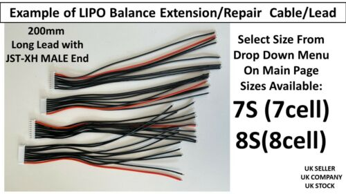 Lipo Battery Balance Repair Replacement Lead Cable 20cm JST-XH MALE 7S 8S Cells