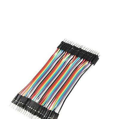 Hot 40pcs Dupont 10CM Male To Male Jumper Wire Ribbon Cable for Breadboard AUGT
