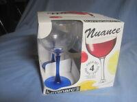 Vintage Set Of 4 In Box Luminarc Nuance 10oz Ballon Wine Glasses 6 1/2 Tall