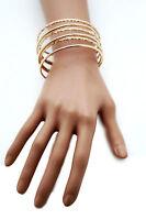 Women Cuff Bracelet Gold Metal Fashion Jewelry Bangles String Spring Adjustable