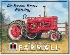 Farmall-Model-M-Tractor-IH-Fast-Farming-Equipment-Retro-Vintage-Metal-Tin-Sign
