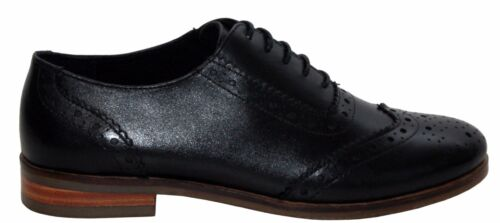 Womens Ladies Real Leather Black Lace Up Party Smart Oxford Office Brogues Shoe