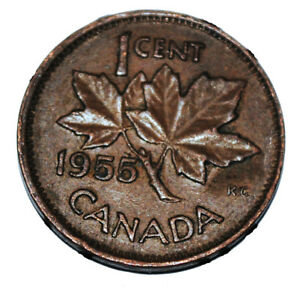 Canada-1955-SF-1-Cent-Copper-One-Canadian-Penny-Coin