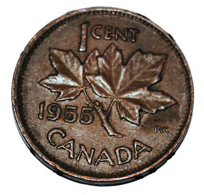 Canada 1955 Sf 1 Cent Copper One Canadian Penny Coin Ebay