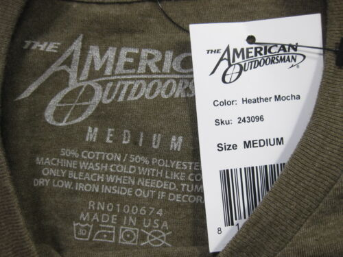 NWT  AMERICAN OUTDOORSMAN ATHLETIC T-SHIRT MULTI COLORS//SIZES MADE IN USA