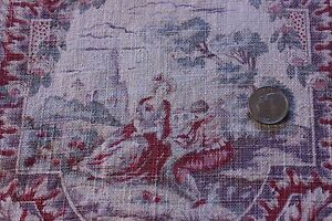 """Antique French Time Worn~Faded Linen Scenic Toile Fabric c.1900~22""""L X 30""""W"""