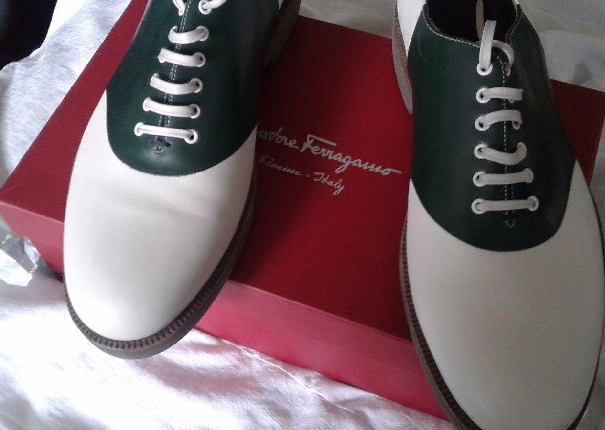 735 SALVATORE FERRAGAMO RICKY TWO-TONE Oxford Chaussures à lacets 12 D