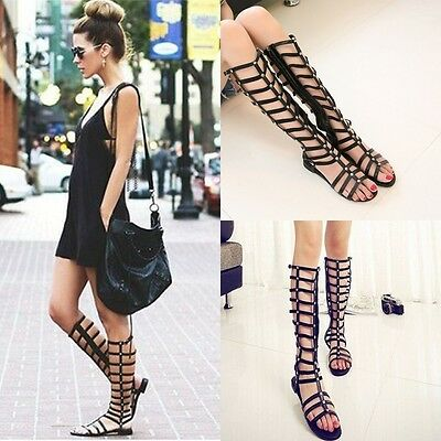 New Summer Sexy Gladiator Sandals Knee High Lace Up Tie Flat Roman Women's Shoes