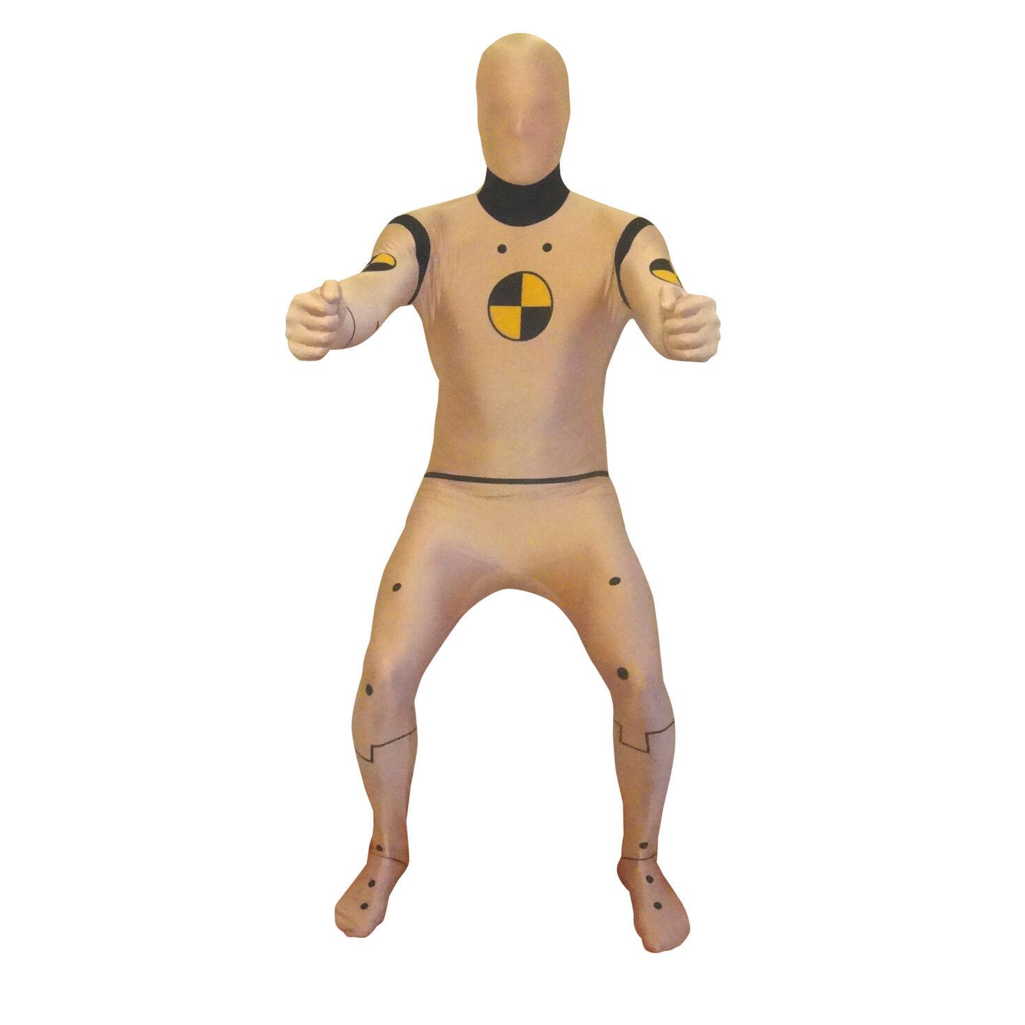 Crash Test Dummy Adult Costume Yellow Skin Suit Funny Halloween