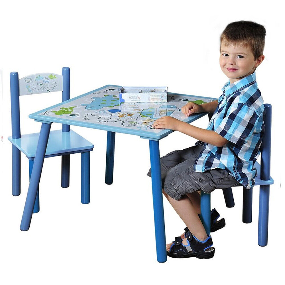 Koakid Enfants Chaise + table enfants Set 2 chaises bleu table + chaise chambre enfant