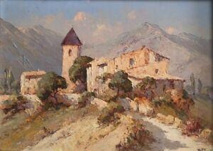 Paula-Font-1882-1967-Huile-isorel-Hameau-de-Provence-v132
