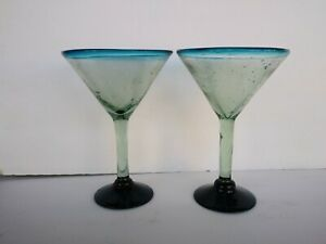 """Mexican Mexico Martini Glasses Teal Rims Blue Bases Hand Blown 7.5"""" Set of 2"""