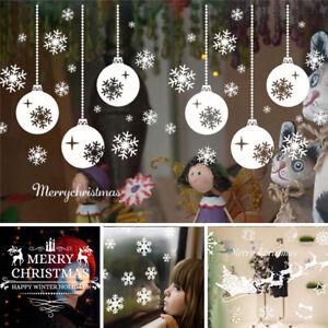 Christmas-Decor-Fiocchi-di-Neve-Babbo-Natale-Muro-Adesivi-in-Vinile-ARTE-Decalcomania-Finestra
