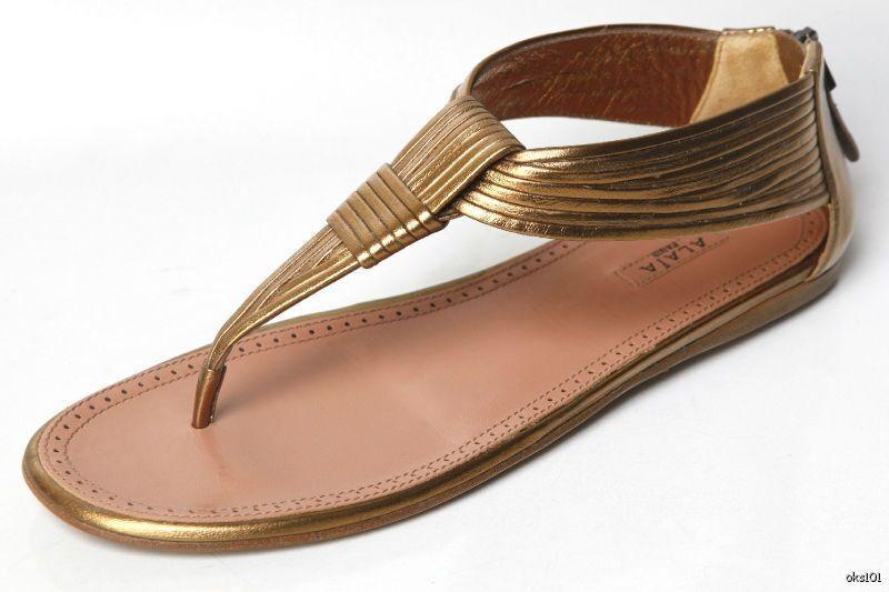 New  895 ALAIA bronze leather T-strap thongs back logo zipper FLATS shoes - hot