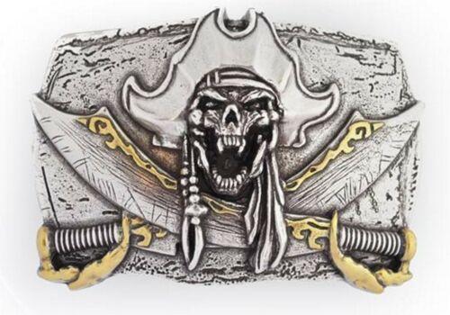Schließe Buckle Gürtel-Schnalle Pirates Cry Metall Silber für 4 cm Schnallen