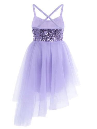 Kids Girls Lyrical Dance Dress Party Modern Ballet Leotard Skate Dance Costume