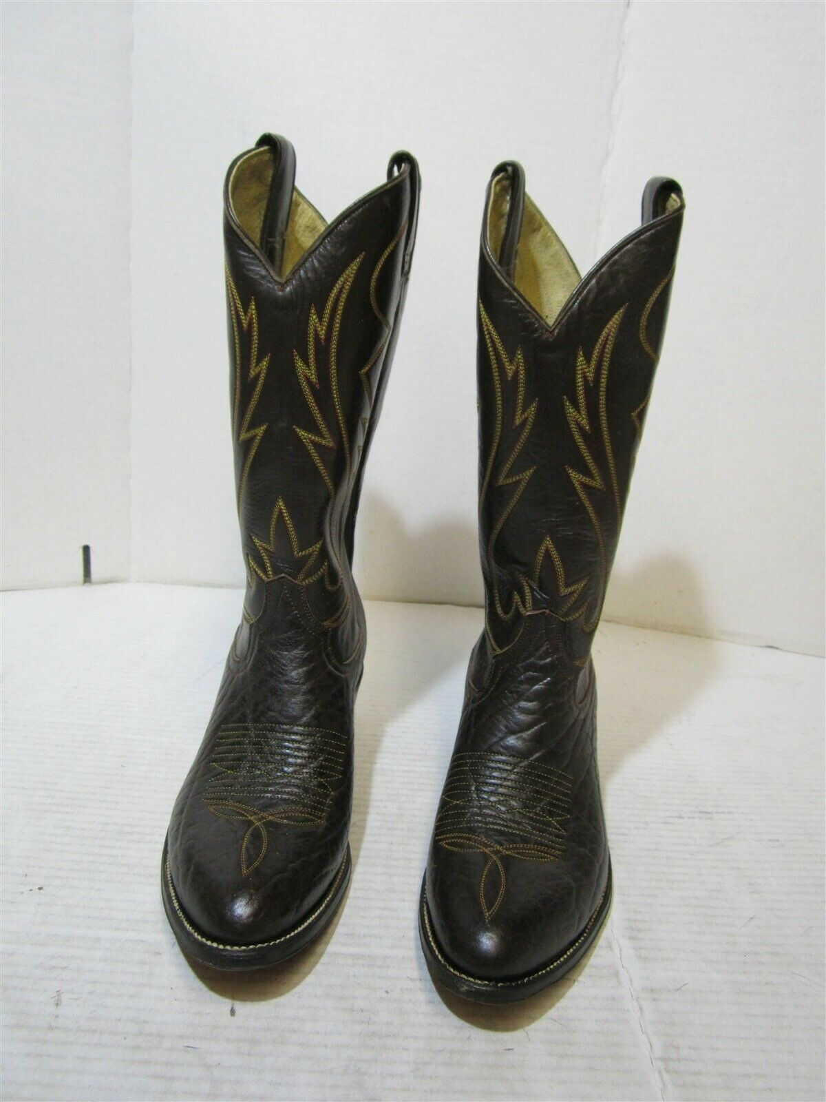 Cowtown W904 Mens Vintage Chocolate Bull Brown Leather Western Cowboy Boots 8.5D