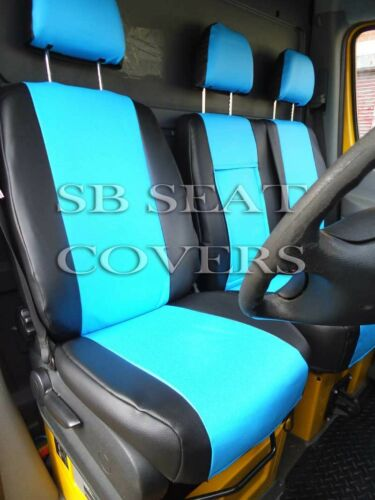 IVECO DAILY VAN SEAT COVERS 2011 MADE TO MEASURE BLUE+BLACK LEATHERETTE