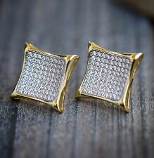 MEN'S BRAND NEW GOLD PLATED DIAMOND SIMULATE XXL KITE SQUARE STUD EARRINGS 17MM