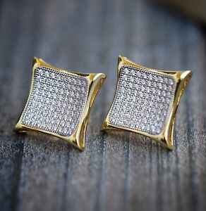 Image Is Loading Hip Hop 14k Gold Large Square Stud Earrings