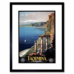 Travel Taormina Sicily Etna Greek Theatre Italy Framed Art Print 12x16 Inch