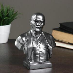 Bust Vladimir Lenin Communist Leader - Steel Colored Art Figurine 7.4 in (19 cm)