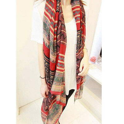 Fashion Women Girl Vintage Long Soft Cotton Voile Print Scarves Shawl Wrap Scarf